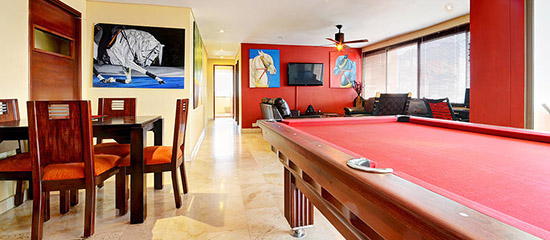 Pool table at Medellin apartment for rent