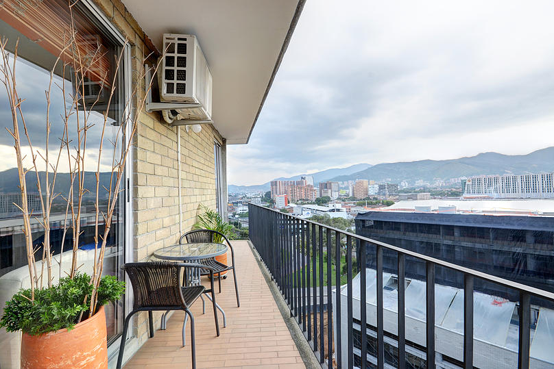 Balcony of apartment for rent in Medellin