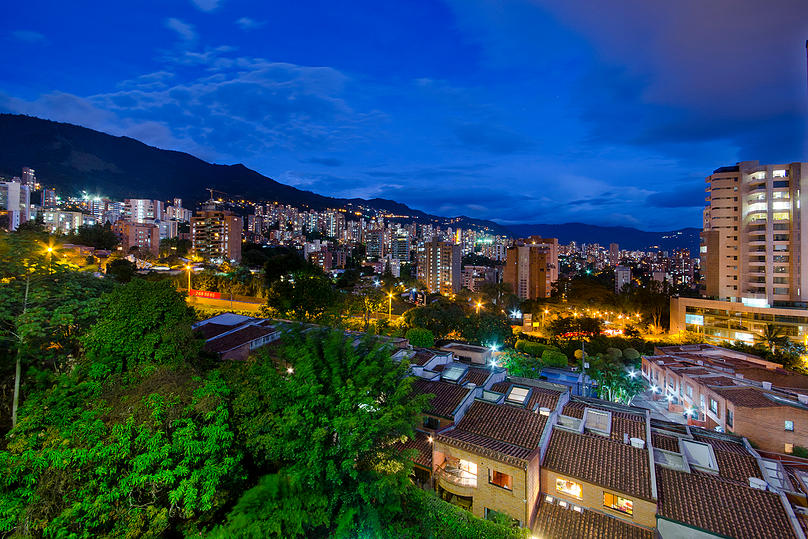 Alminar night skyline view from apartment for rent in Medellin