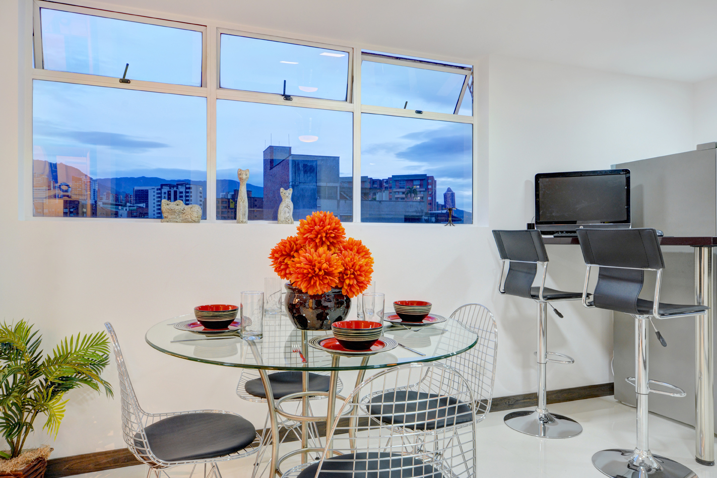 Set dining table in contemporary Medellin apartment available for rent
