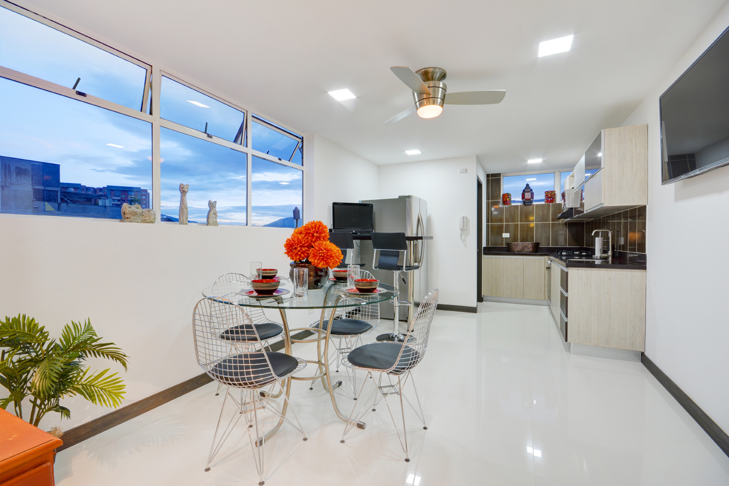 Kitchen and dining room in contemporary Medellin apartment for rent