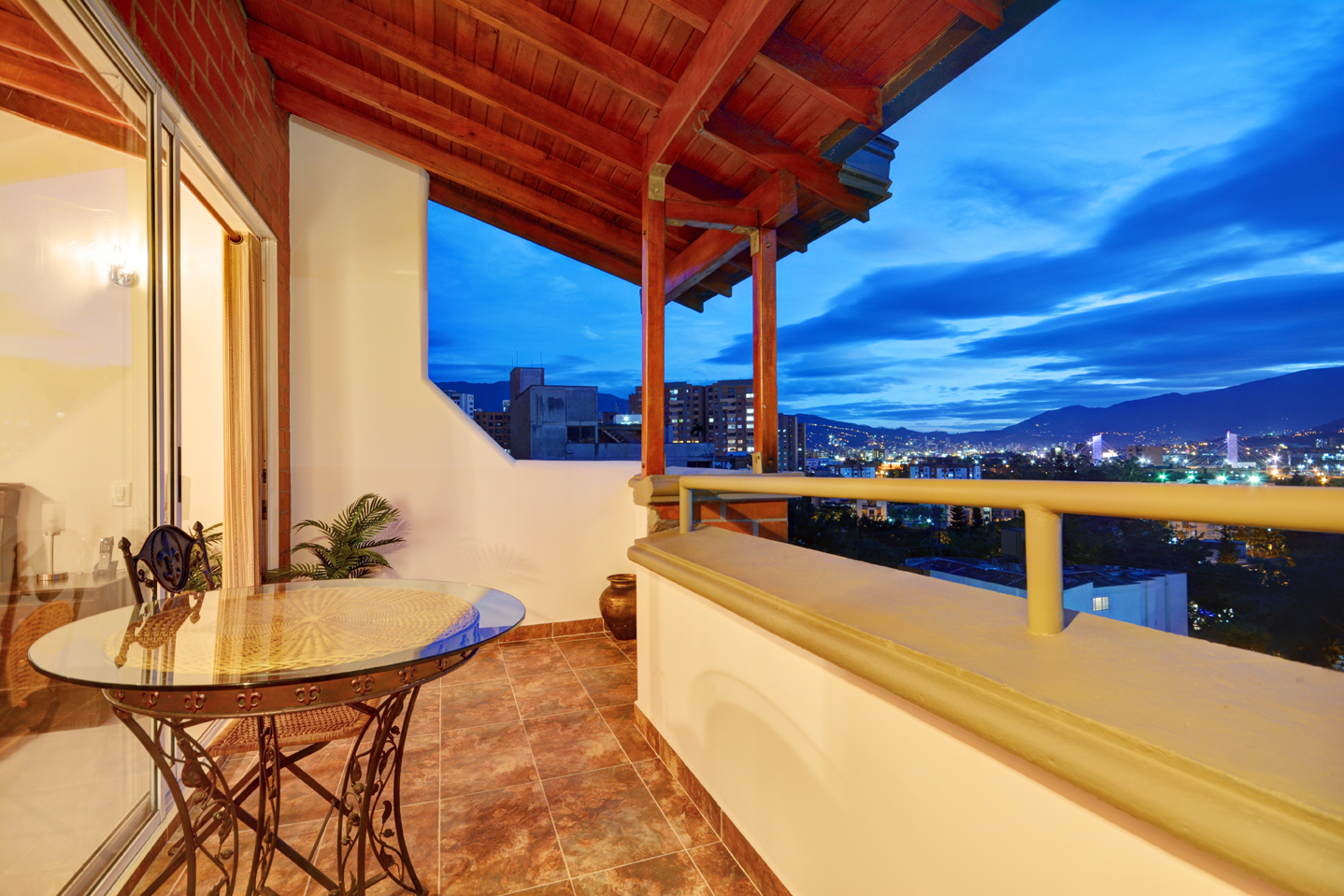 Beautiful outdoor balcony with fantastic view in Medellin apartment for rent