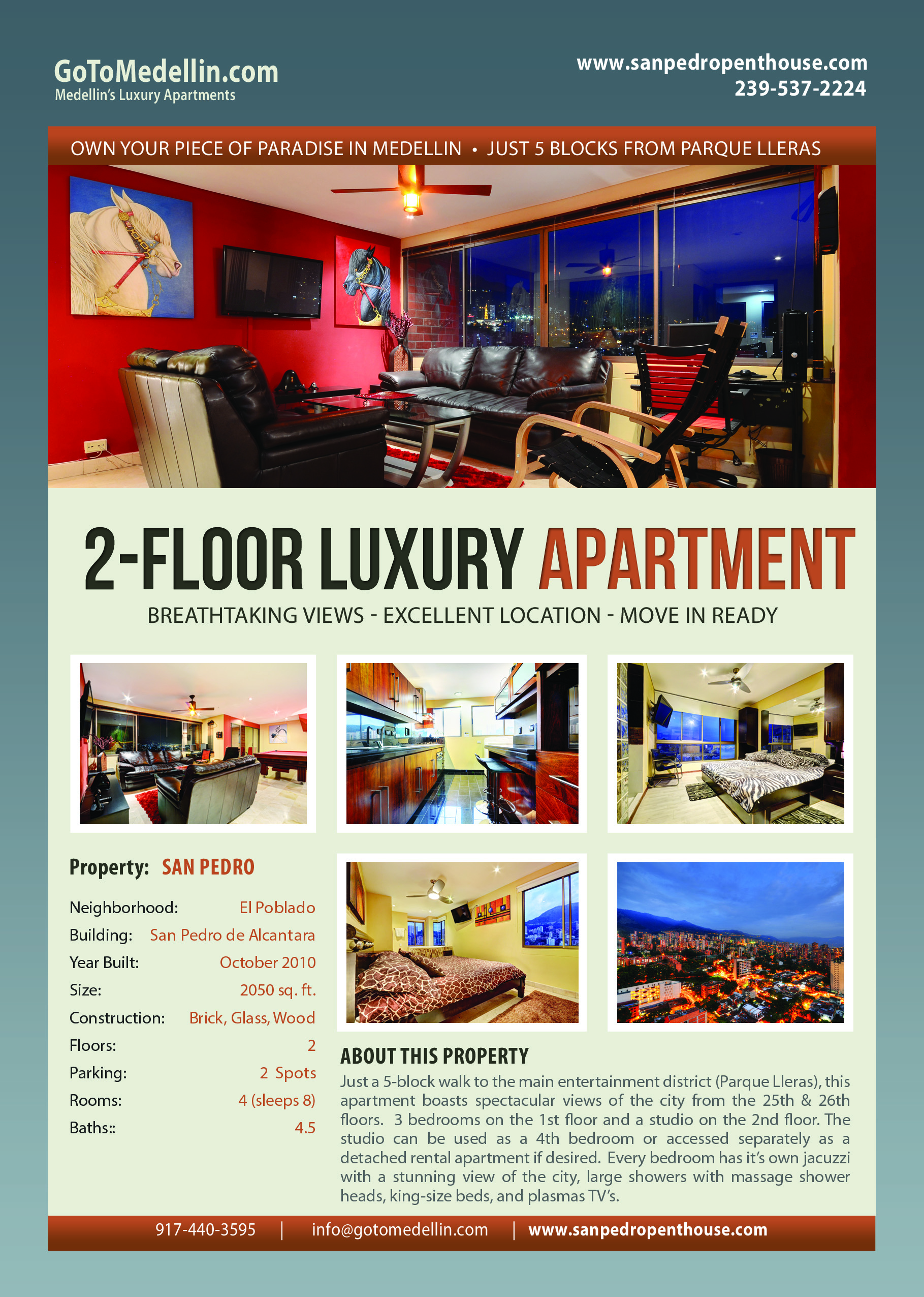 San Pedro 2 Floor Luxury Apartment Medellin