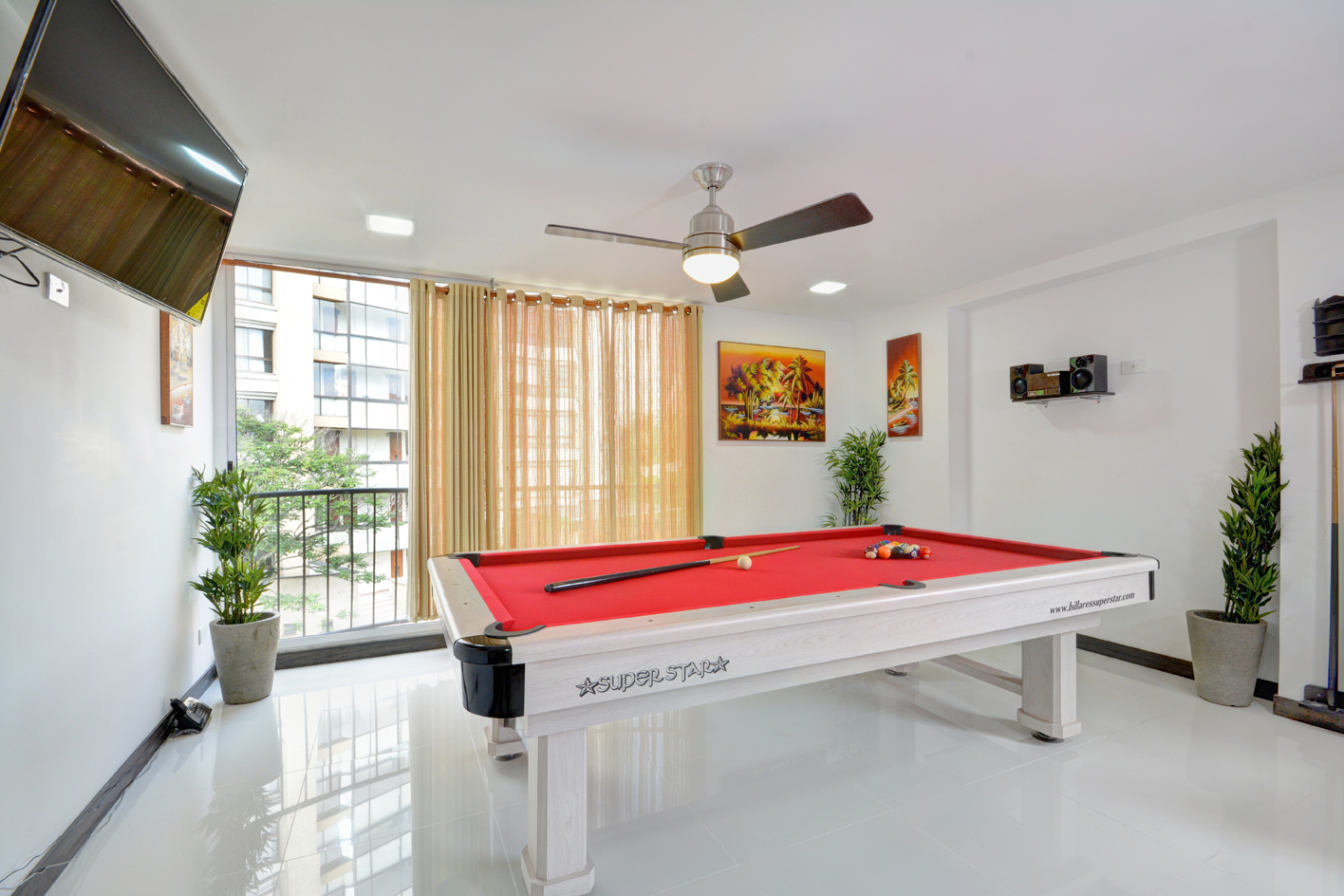 Pool table isolated in Medellin apartment for rent