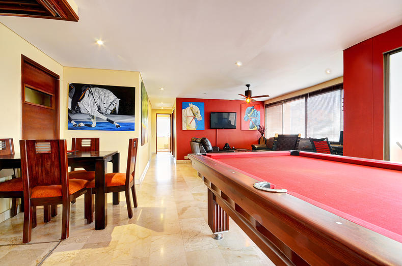Pool table in San Pedro apartment for rent